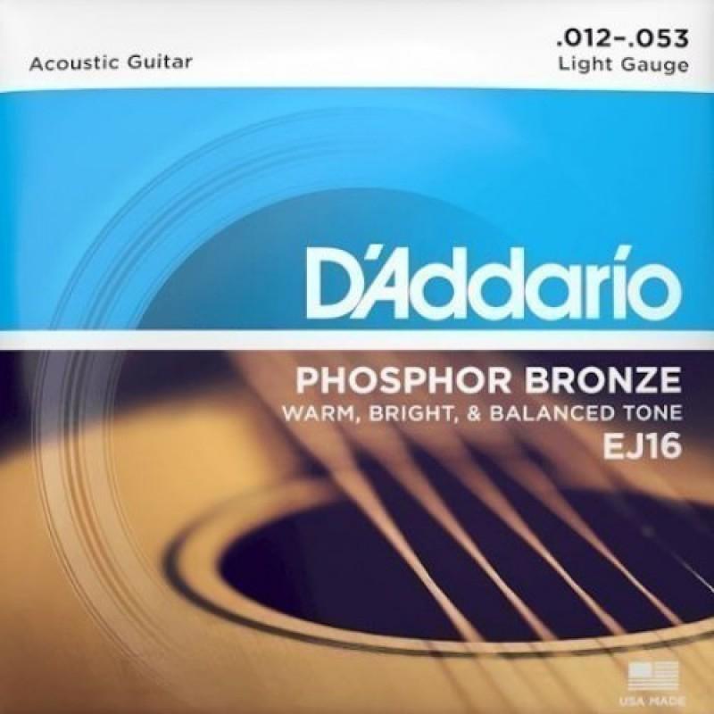 D'Addario EJ16 Acoustic Guitar String Set, Regular Light 12-53