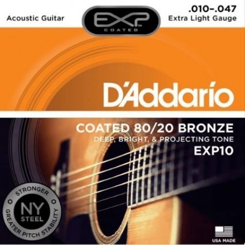 D'Addario EXP10 Acoustic Guitar String Set, Extra Light 10-47