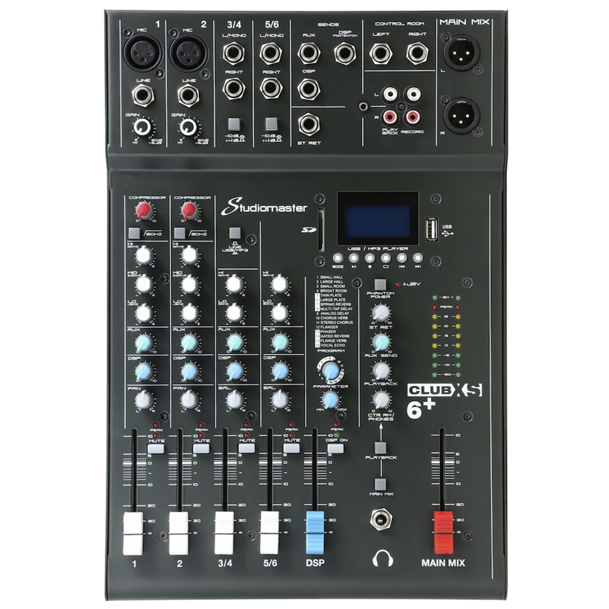 Studiomaster CLUBXS6+ 6 Channel Mixing Console With Bluetooth & DSP